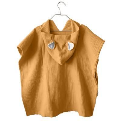 poncho-bebe-toalla-capucha-ponchos-niños-muselina-algodon-bambula-suave-mimuselina-mostaza