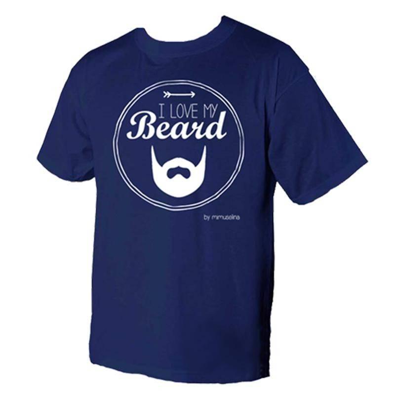 Camiseta azul Me gusta mi barba